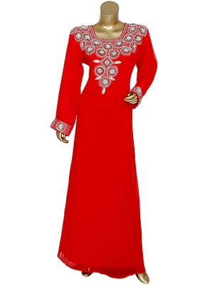 Red Crystal Embellished Islamic Traditional Kaftan Gown Caftan Maxi