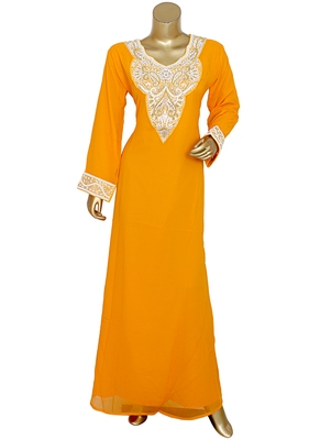 Orange Arabian Crystal Embellished Traditional Chiffon Kaftan Gown Abaya