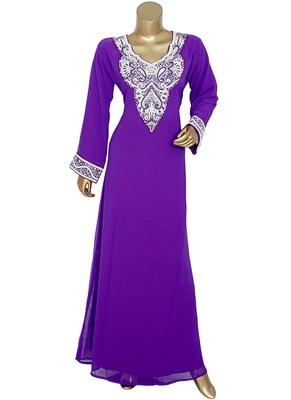 Purple Arabian Crystal Embellished Traditional Chiffon Kaftan Gown Abaya