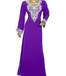 Purple Arabian Crystal Embellished Traditional Chiffon Kaftan Gown Abaya