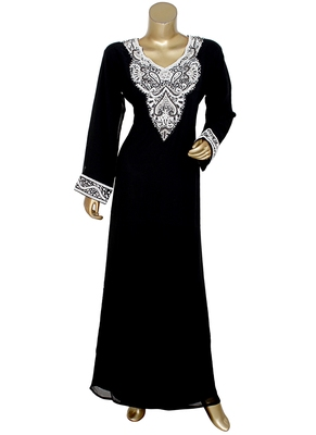 Black Arabian Crystal Embellished Traditional Chiffon Kaftan Gown Abaya