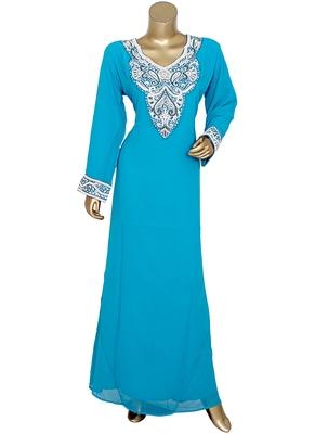 Turquoise Blue Arabian Crystal Embellished Traditional Chiffon Kaftan Gown Abaya