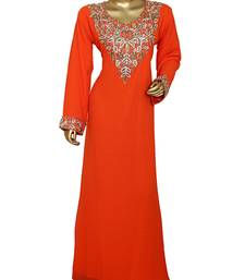 Orange Traditional Crystal Embellished Chiffon Kaftan Abaya Jalabiya
