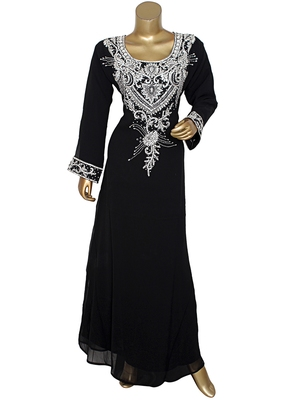 Black Crystal Embellished Traditional Islamic Chiffon Kaftan Abaya Caftan