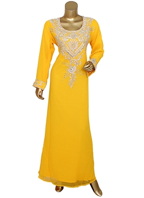Yellow Crystal Embellished Traditional Islamic Chiffon Kaftan Abaya Caftan