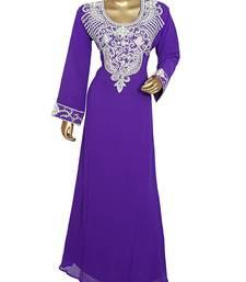 Purple Crystal Embellished Traditional Dubai Kaftan Abaya Caftan Maxi