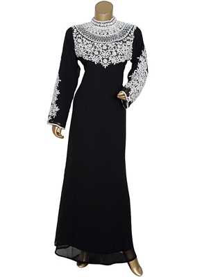 Black Crystal & Beads work Islamic Dubai Chiffon Kaftan Gown Caftan Maxi