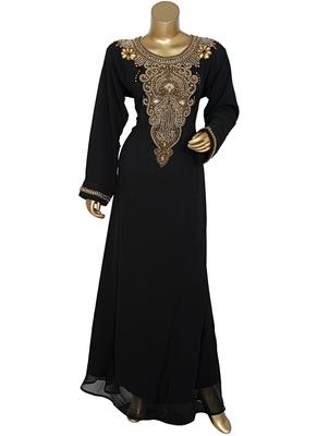 Black Beads work Islamic Dubai Chiffon Kaftan Gown Caftan Maxi