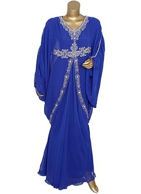 Royal Blue Crystal Embellished Traditional Kaftan Gown Farasha