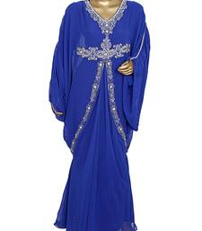 Royal Blue Crystal Embellished Traditional Kaftan Gown Farasha