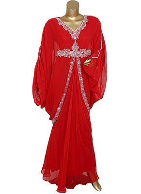 Red Crystal Embellished Traditional Kaftan Gown Farasha