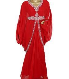 Red Crystal Embellished Traditional Kaftan Gown Farasha