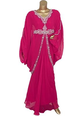 Fuchsia Pink Crystal Embellished Traditional Kaftan Gown Farasha