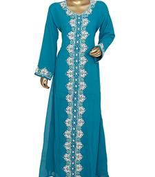 Teal Green Crystal & Beads Embellished Chiffon Kaftan Gown Abaya Caftan