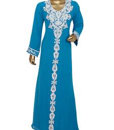 Turquoise Blue Traditional Kaftan Gown Embroidered with Crystal & Beads Abaya