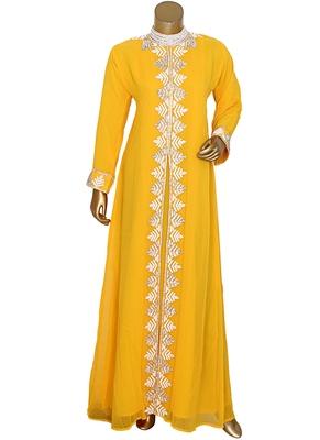 Yellow Arabian Traditional Crystal Embellished Kaftan Abaya