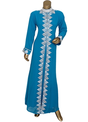 Turquoise Blue Arabian Traditional Crystal Embellished Kaftan Abaya