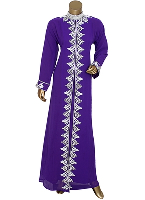 Purple Arabian Traditional Crystal Embellished Kaftan Abaya