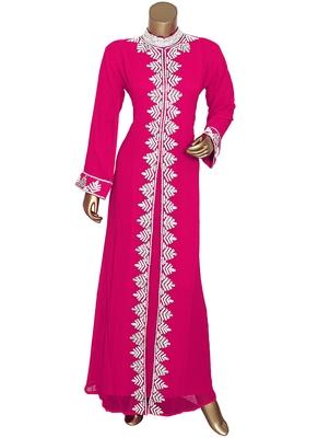 Fuchsia Pink Arabian Traditional Crystal Embellished Kaftan Abaya