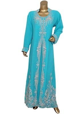 Aqua Green Crystal Embellished Chiffon Kaftan Gown Abaya Caftan