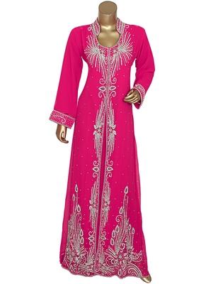 Fuchsia Pink Crystal Embellished Chiffon Kaftan Gown Abaya Caftan