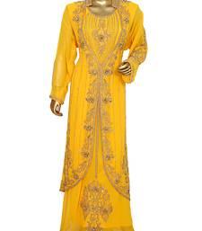 Yellow Crystal & Beads Embellished Chiffon Kaftan Gown Abaya