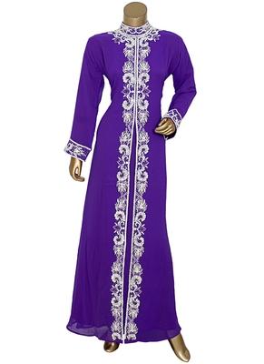 Purple Arabian Moroccan Traditional Chiffon Kaftan Gown Abaya Caftan