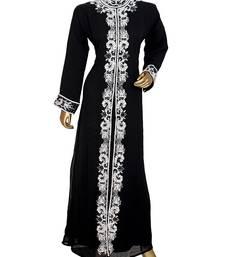 Black Arabian Moroccan Traditional Chiffon Kaftan Gown Abaya Caftan