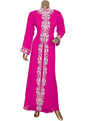Fuchsia Pink Arabian Moroccan Traditional Chiffon Kaftan Gown Abaya