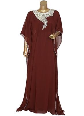 Brown Embroidered Crystal Embellished Chiffon Kaftan Gown Farasha
