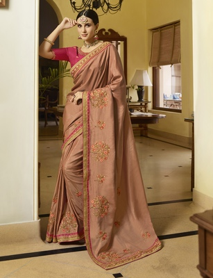 Rust Embroidered Silk Blend Saree With Blouse