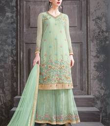 Buy Light-olive embroidered net salwar palazzo online
