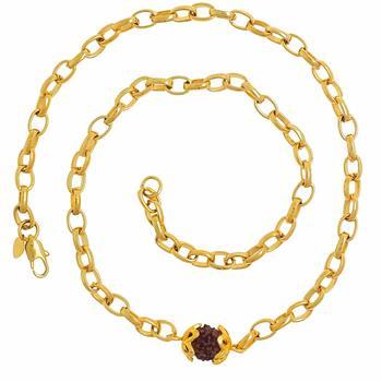 22K Yellow Gold Plating Rudraksha Mala Chain Necklace For Unisex