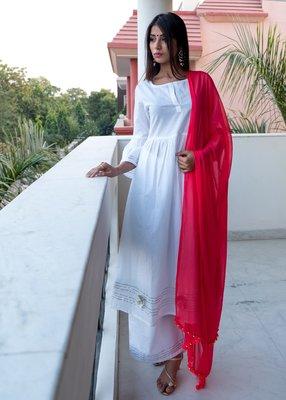 White plain cotton kurta with palazzo and dupatta set