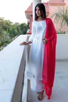 f019d98b175 White plain cotton kurta with palazzo and dupatta set · Shop Now