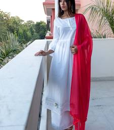White plain cotton kurta with palazzo and dupatta set