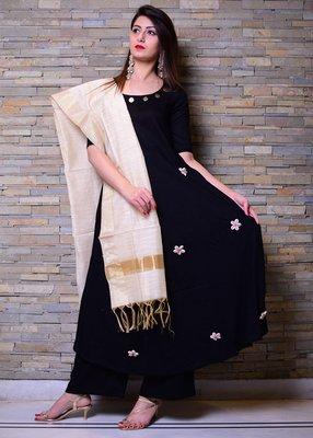 Black embroidered rayon kurta and pant set