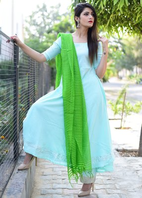 Sky-blue plain rayon kurta with trouser and dupatta set