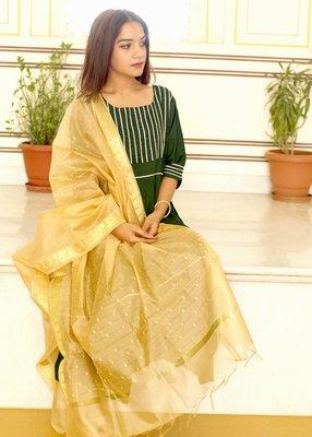 Olive Plain Rayon Kurta With Trouser And Dupatta Set