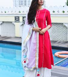 Pink Plain Rayon Kurta With Palazzo And Dupatta Set