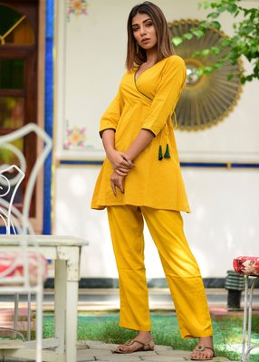 Yellow Embroidered Cotton Kurta With Trouser Set