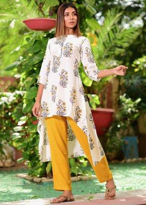 Yellow printed cotton kurta with trouser set