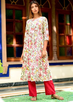 Multicolor Printed Cotton Kurta Wit Trouser