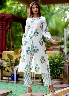 White Printed Cotton Kurta With Trouser Set