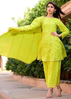 Light-green plain cotton kurta and skirt with dupatta