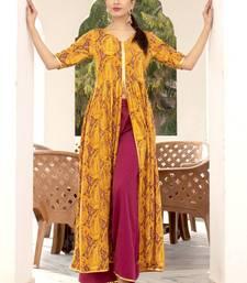 Mustard printed front slit rayon kurti with palazzo set