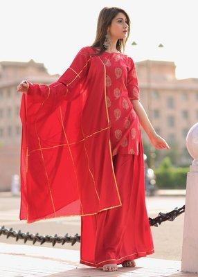 Red printed rayon kurta with palazzo
