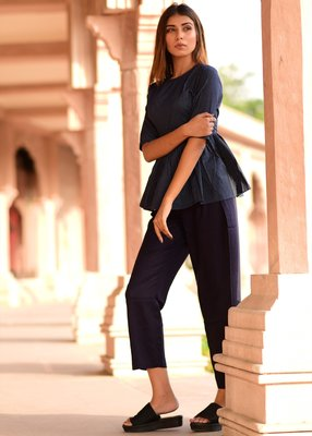 Blue embroidered cotton peplum top with trouser