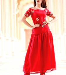 Red Embroidered Georgette Kurti With Trouser