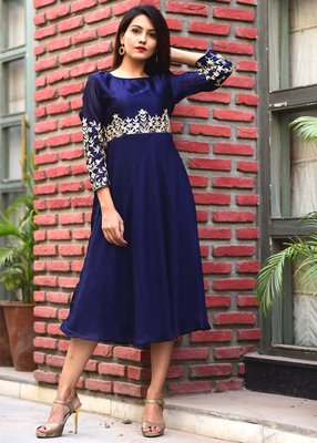 Blue Embroidered Georgette Kurtis